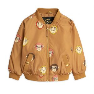 Mini Rodini  - MONKEY BASEBALL JACKET BROWN - Clothing