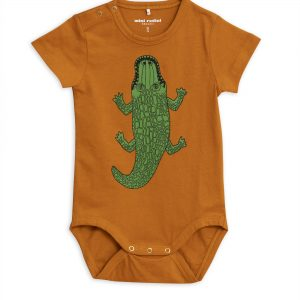 Mini Rodini  - CROCCO SHORT SLEEVE BODY BROWN - Clothing