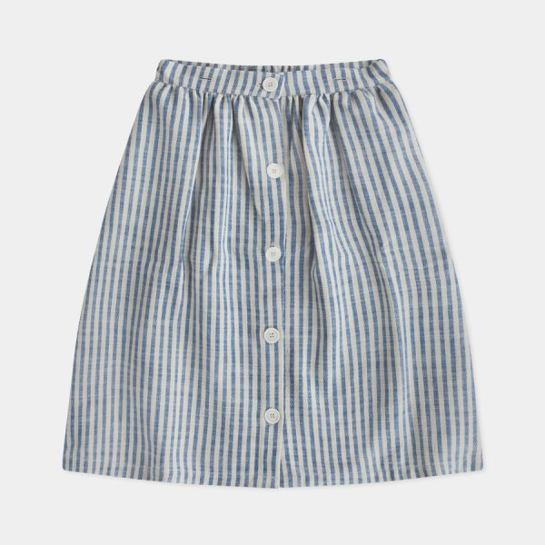 Repose AMS  - FADED SAND BLUE STRIPE BUTTON DOWN SKIRT - Clothing