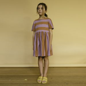 Repose AMS  - WARM EARTHY LILAC STRIPE COTTON DRESS - Clothing