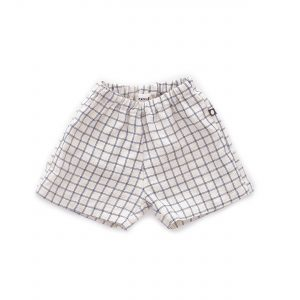 Oeuf NYC  - BEIGE BLUE CHECKS LINEN SHORTS - Clothing