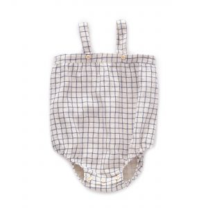 Oeuf NYC  - BEIGE BLUE CHECKS ROMPER WITH STRAPS - Clothing