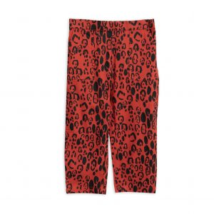 Mini Rodini  - LEOPARD WOVEN TROUSERS RED - Clothing