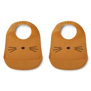 Liewood  - TILDA SILICONE BIB CAT MUSTARD (2 pack) - Accessories