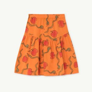 The Animals Observatory  - TURKEY KIDS SKIRT ORANGE APPLES & SNAKES - Clothing