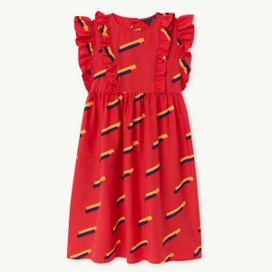 The Animals Observatory  - RED OTTER KIDS DRESS RED 80'S - Clothing