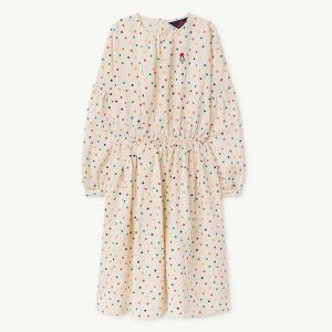 The Animals Observatory  - DOTS TORTOISE KIDS DRESS RAW WHITE DOTS - Clothing