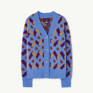 The Animals Observatory  - MULTICOLOR RACOON KIDS CARDIGAN BLUE - Clothing