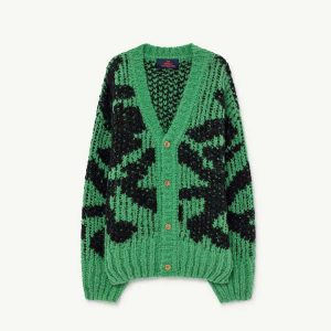 The Animals Observatory  - ARTY RACOON KIDS CARDIGAN GREEN - Clothing