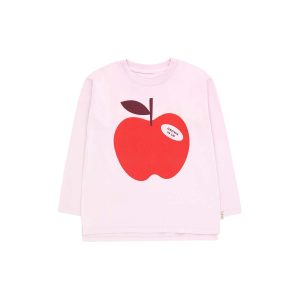 Tinycottons  - APPLE LONG SLEEVE TEE PALE PINK - Clothing