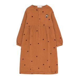 Tinycottons  - DOTS CAT DRESS BROWN - Clothing