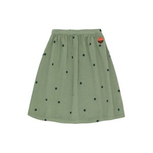 Tinycottons  - DOTS SUNSET LONG SKIRT GREEN WOOD - Clothing