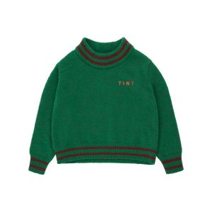 Tinycottons  - LINES CROP SWEATER DEEP GREEN - Clothing