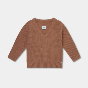 Repose AMS  - KNITTED V NECK SWEATER RUSTY APRICOT - Clothing