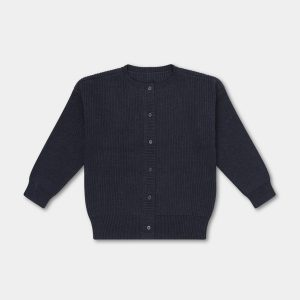 Repose AMS  - KNITTED RIB CARDIGAN GRAPHITE GREY - Clothing