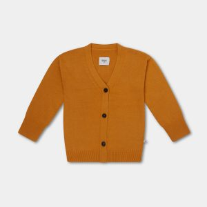 Repose AMS  - KNITTED V NECK CARDIGAN WARM YELLOW - Clothing