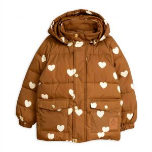 Mini Rodini  - HEARTS PICO PUFFER JACKET BROWN - Clothing