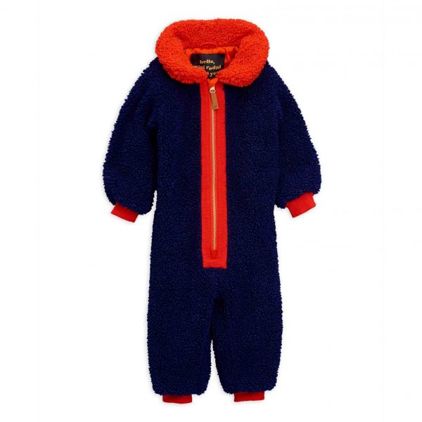 Mini Rodini  - FAUX FUR BABY OVERALL BLUE - Clothing