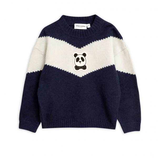 Mini Rodini  - PANDA KNITTED WOOL SWEATER BLUE - Clothing