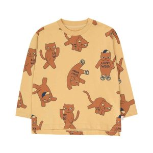 Tinycottons  - CATS LONG SLEEVE TEE SAND & BROWN - Clothing