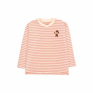 Tinycottons  - STRIPES LONG SLEEVE TEE LIGHT CREAM & RED - Clothing