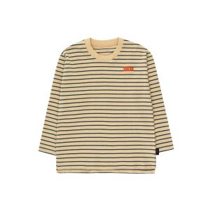 Tinycottons  - STRIPES LONG SLEEVE TEE SAND & TRUE NAVY - Clothing