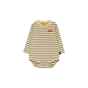 Tinycottons  - STRIPES LONG SLEEVE BODY SAND & TRUE NAVY - Clothing