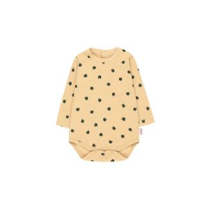 Tinycottons  - SMALL APPLES LONG SLEEVE BODY SAND & BOTTLE GREEN - Clothing