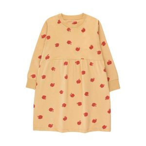 Tinycottons  - APPLES DRESS SAND & BURGUNDY - Clothing