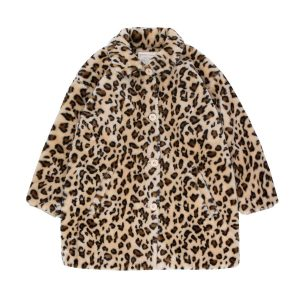 Tinycottons  - FAUX FUR COAT LIGHT CREAM & BROWN - Clothing