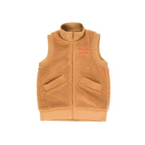 Tinycottons  - SHERPA LONG VEST BROWN - Clothing