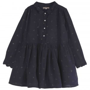 Emile et Ida  - GOLDEN SPECKLE DRESS DARK BLUE - Clothing