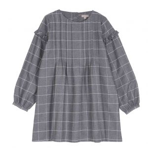 Emile et Ida  - GRID DRESS GREY - Clothing