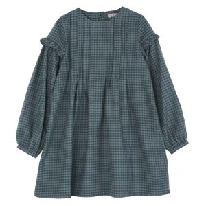 Emile et Ida  - GINGHAM DRESS GREEN - Clothing