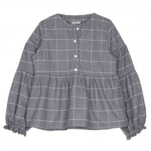 Emile et Ida  - GRID BLOUSE GREY - Clothing