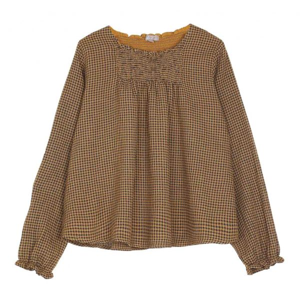 Emile et Ida  - GINGHAM BLOUSE YELLOW - Clothing