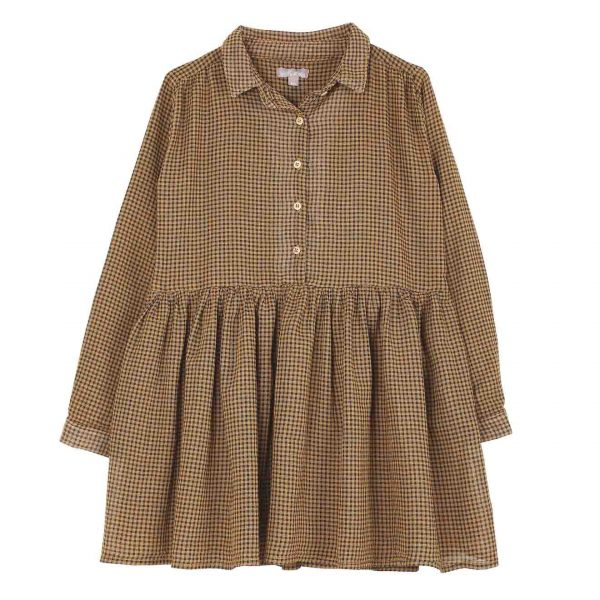 Emile et Ida  - GINGHAM DRESS YELLOW - Clothing