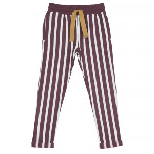 Emile et Ida  - STRIPE JOGGER PANTS BORDEAUX - Clothing