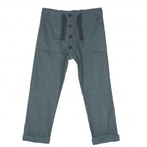 Emile et Ida  - GINGHAM PANTS GREEN - Clothing