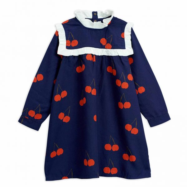 Mini Rodini  - CHERRY WOVEN FRILL DRESS BLUE - Clothing
