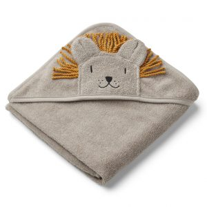 Liewood  - ALBERT HOODED TOWEL LION STONE BEIGE - Homeware