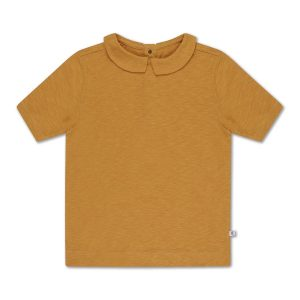Repose AMS  - T SHIRT WITH COLLAR SUN GOLD - Clothing