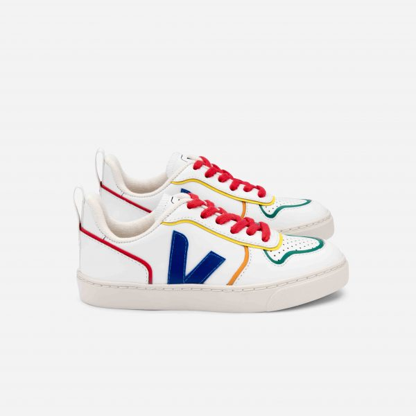 Veja  - V-10 LACE LEATHER EXTRA WHITE MULTICO COOL - Footwear