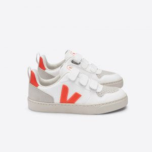 Veja  - V-10 VELCRO VEGAN WHITE ORANGE FLUO - Footwear