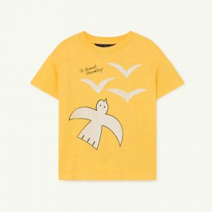 The Animals Observatory  - ROOSTER KIDS T-SHIRT YELLOW BIRDS - Clothing