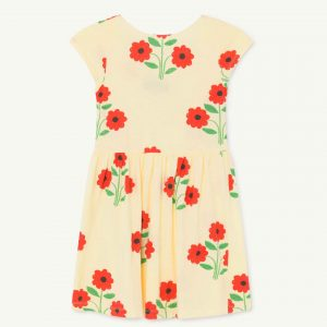 The Animals Observatory  - BUTTERFLY KIDS DRESS YELLOW FLOWERS - Clothing