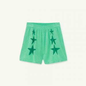 The Animals Observatory  - POODLE KIDS SHORTS GREEN STARS - Clothing