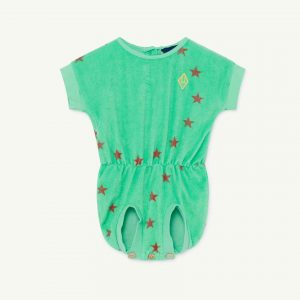 The Animals Observatory  - KOALA BABY JUMPSUIT GREEN STARS - Clothing