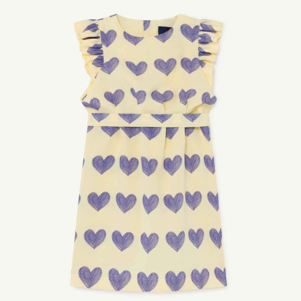 The Animals Observatory  - WEASEL KIDS DRESS YELLOW HEARTS - Clothing