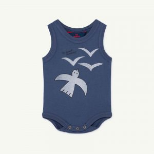 The Animals Observatory  - TURTLE BABY BODY BLUE BIRDS - Clothing